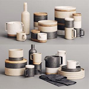 哈萨米瓷套3D碗盘杯瓷器组合模型-0410C7