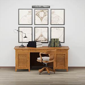 桌子椅子书桌组合3D模型-0107ZY3