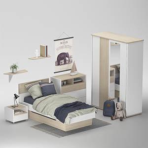 儿童房床衣柜组合3D模型-1401E2