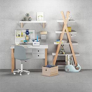 儿童房桌椅组合3D模型-1403E3