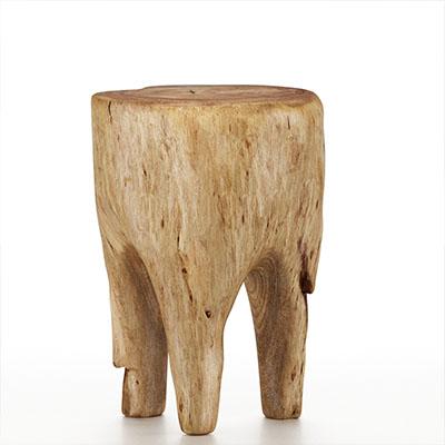 木制树桩凳子3D模型-0103D4