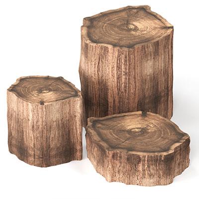 实木树木纹凳子3D模型-0103D5