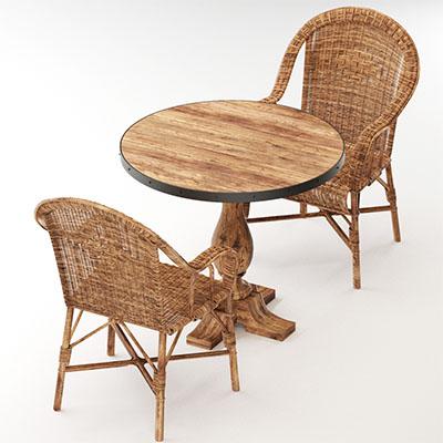 桌子藤椅3D模型-0107ZY6