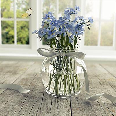 蝴蝶紫色花瓶3D模型-1008F15