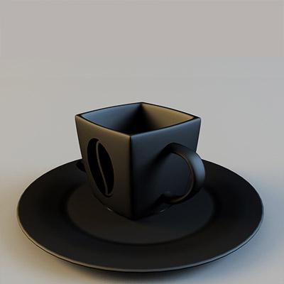 咖啡杯餐具3D模型-0410C6