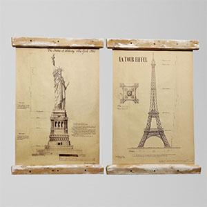 自由女神、埃菲尔铁塔挂画3D模型-0317H9