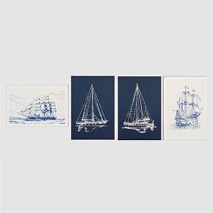 蓝色线型帆船挂画3D模型-0317H4