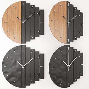 几何时钟木材黑色时钟3D模型-0308Z2