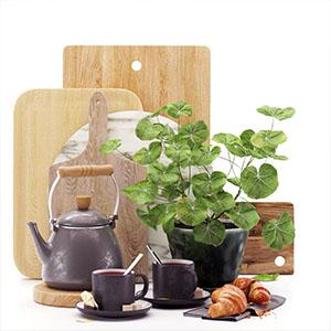 厨房餐具咖啡杯面包食物3D模型-0410C8
