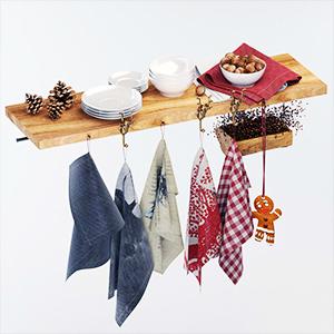 厨房盘子毛巾摆设3D模型-0410C10