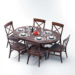 餐桌桌椅组合3D模型-0107ZY12