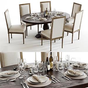 餐桌桌椅组合3D模型-0107ZY13