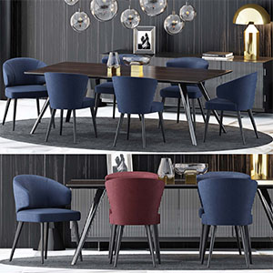 桌椅组合3D模型-0107ZY14