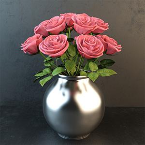 玫瑰花3D模型-1008F20