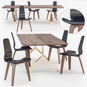 桌椅组合3D模型-0107ZY21