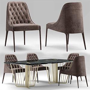 桌椅组合3D模型-0107ZY25