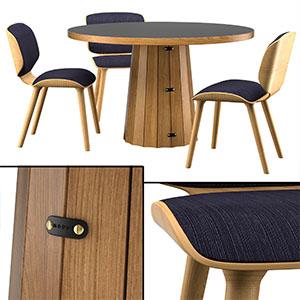 桌椅组合3D模型-0107ZY27