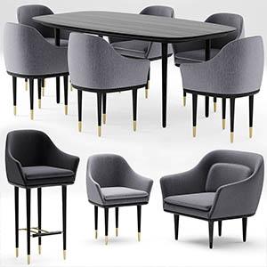 桌椅组合3D模型-0107ZY30