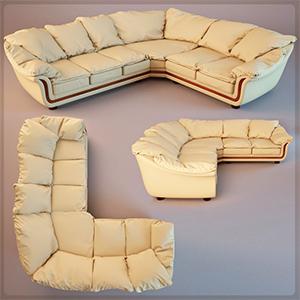 L型沙发3D模型-010205S33