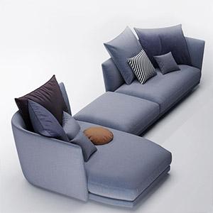 三人沙发3D模型-010203S44