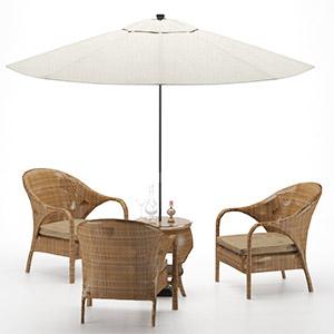 户外桌椅3D模型-010411H1