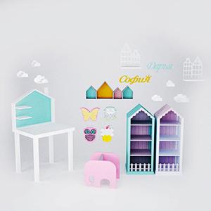 现代简约儿童用品组合3D模型-1406Z5