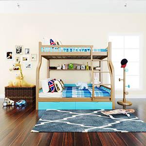 现代双层床儿童玩具组合3D模型-1401E5
