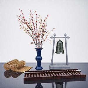 新中式装饰品摆件组合3D模型-0303B88