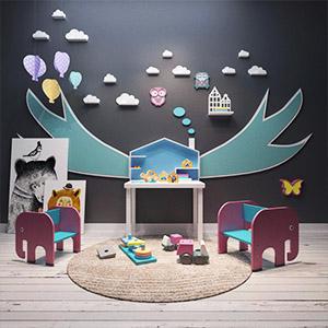 现代椅子桌子儿童玩具组合3D模型-1403E5