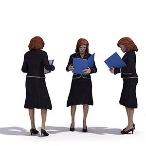 看文件的女人3D模型-0802N34