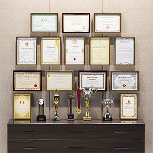 现代奖状奖杯证书组合3D模型-0306Q2