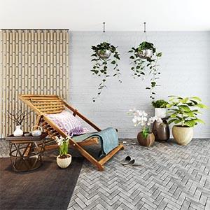 现代简约休闲椅陈设品组合3D模型-1010H2