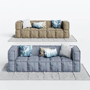 三人沙发3D模型-010203S48
